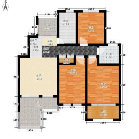 星河蓝湾3室1厅1卫1厨110.00㎡户型图
