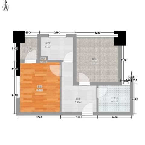 经典华城一期梧桐语1室1厅1卫1厨49.00㎡户型图