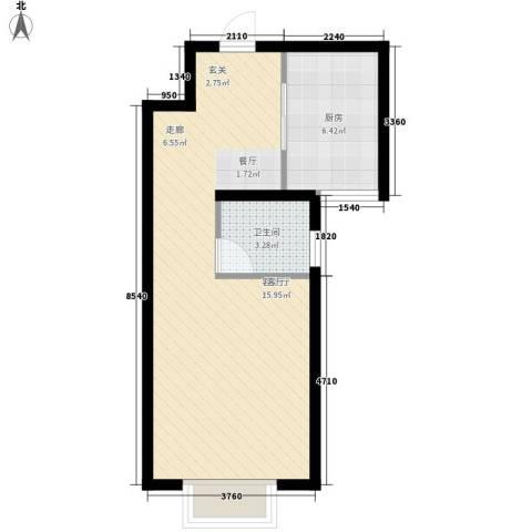 水岸丽景1厅1卫1厨42.00㎡户型图