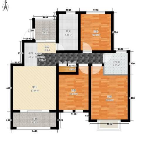 星河蓝湾3室1厅1卫1厨104.00㎡户型图