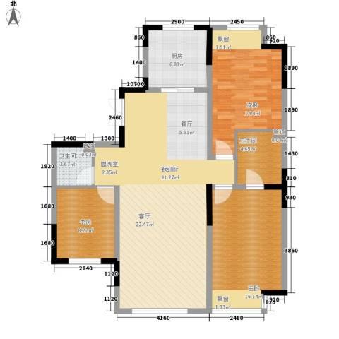 融创上城3室1厅2卫1厨119.00㎡户型图