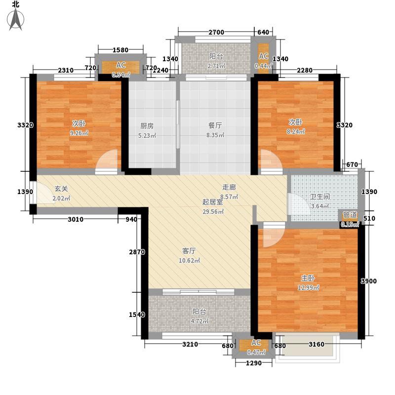 武汉万锦江城武汉万锦江城户型图5栋92㎡小三房户型户型10室