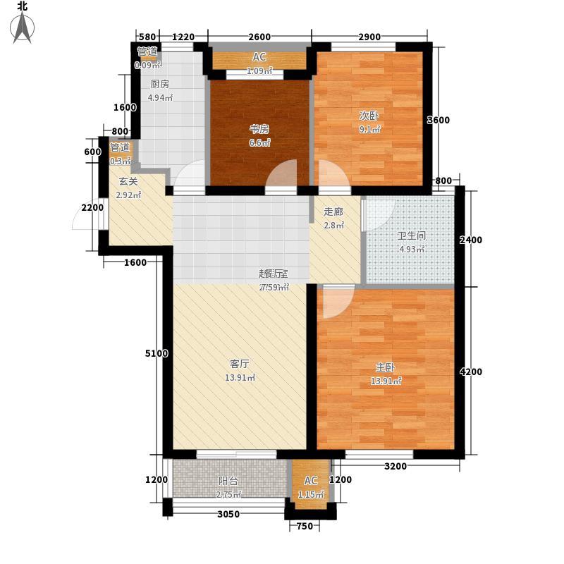 万科金色名郡89.00㎡万科金色名郡户型图12号楼-G89b3室2厅1卫1厨户型3室2厅1卫1厨
