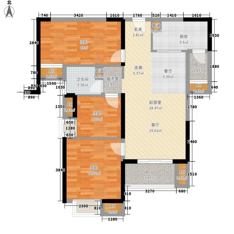武汉万锦江城92.93㎡武汉万锦江城户型图B3户型3室2厅1卫1厨户型3室2厅1卫1厨
