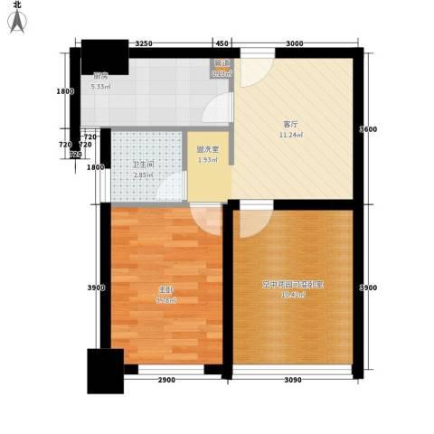 经典华城一期梧桐语1室1厅1卫1厨57.00㎡户型图