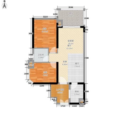 翠岭华庭2室0厅1卫1厨109.00㎡户型图