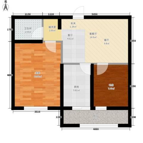 东城花园2室1厅1卫1厨61.02㎡户型图