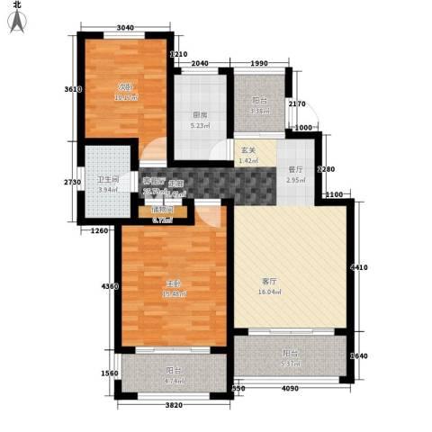 星河蓝湾2室1厅1卫1厨88.00㎡户型图