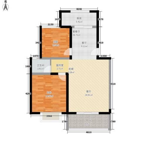 金海岸花园2室1厅1卫1厨90.00㎡户型图
