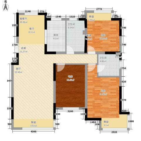 融创上城3室1厅2卫1厨135.00㎡户型图
