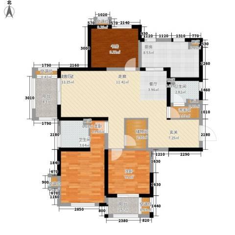 太阳都市花园3室0厅2卫1厨141.00㎡户型图