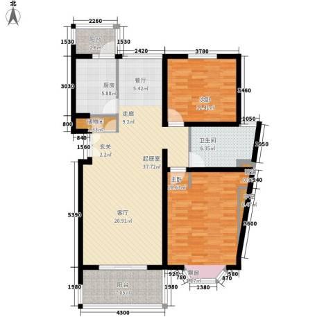宏润公寓2室0厅1卫1厨105.00㎡户型图