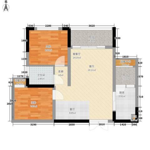 攀华国际广场2室1厅1卫1厨81.00㎡户型图