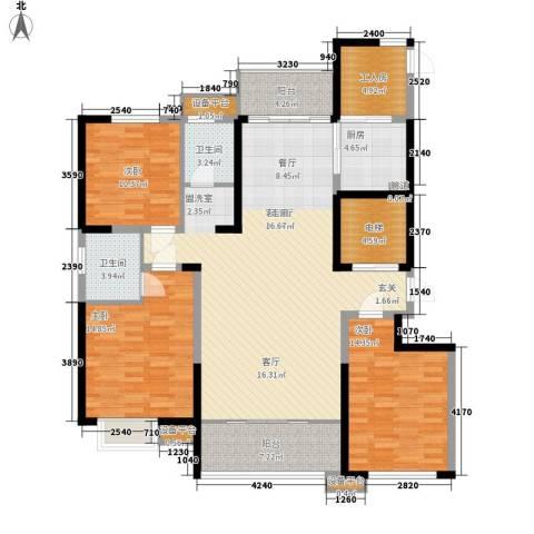 长兴・园湖曲3室1厅2卫1厨135.00㎡户型图