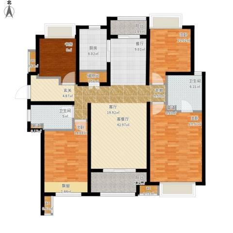 万科中环国际城海上传奇4室1厅2卫1厨181.00㎡户型图