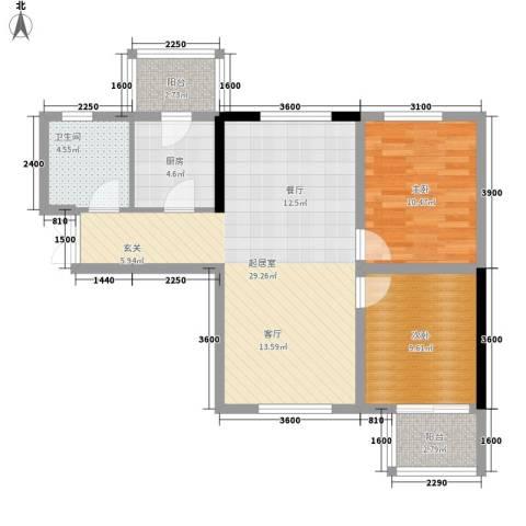 花香小镇2室0厅1卫1厨64.01㎡户型图