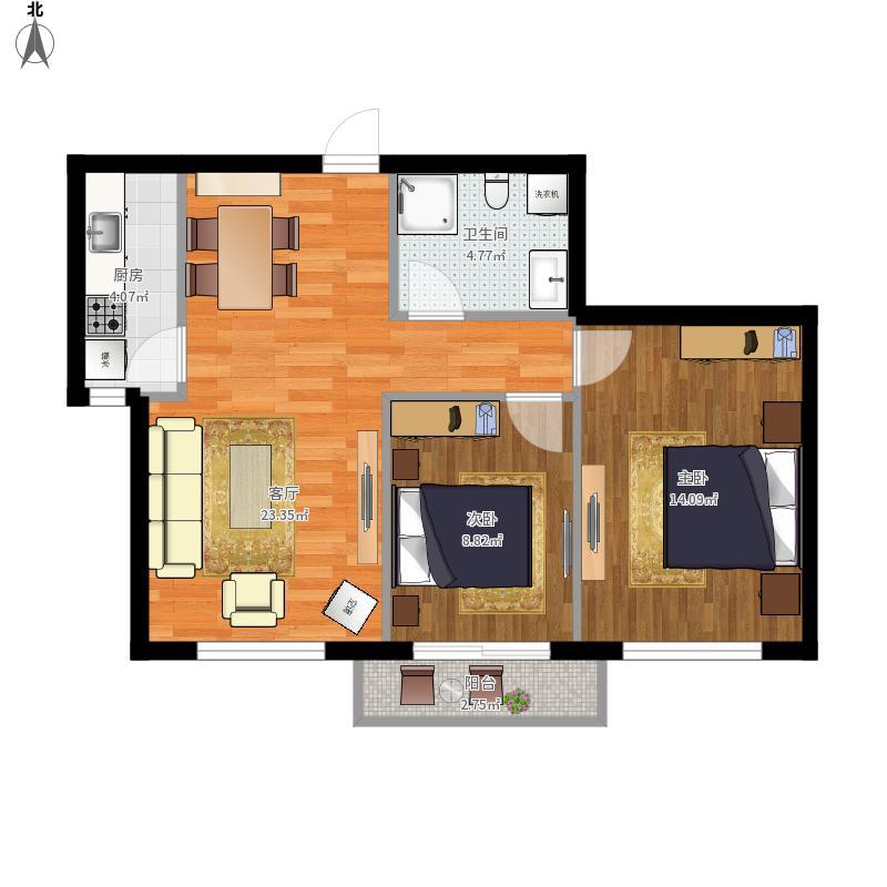 岭湾峰尚73㎡-11#楼B3户型-2室