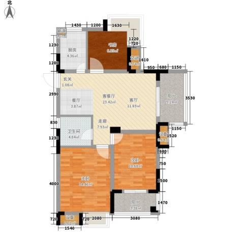 紫园3室1厅1卫1厨87.00㎡户型图
