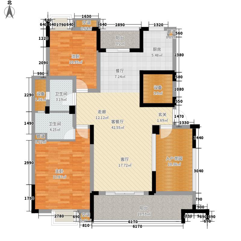 紫园125.12㎡高层9号楼2、3、5单元中间套2室户型