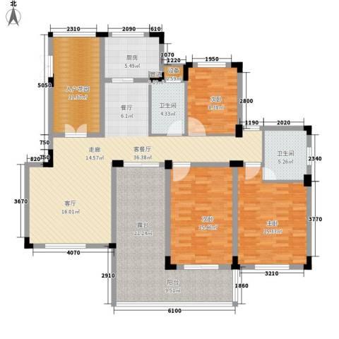 紫园3室1厅2卫1厨130.00㎡户型图