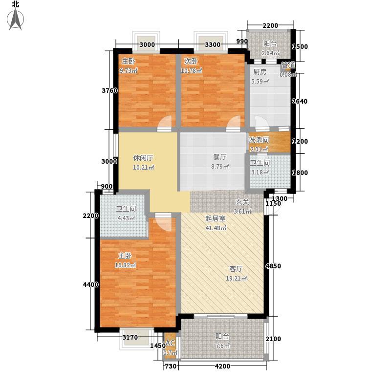 丽都半岛124.14㎡N型户型3室3厅2卫1厨