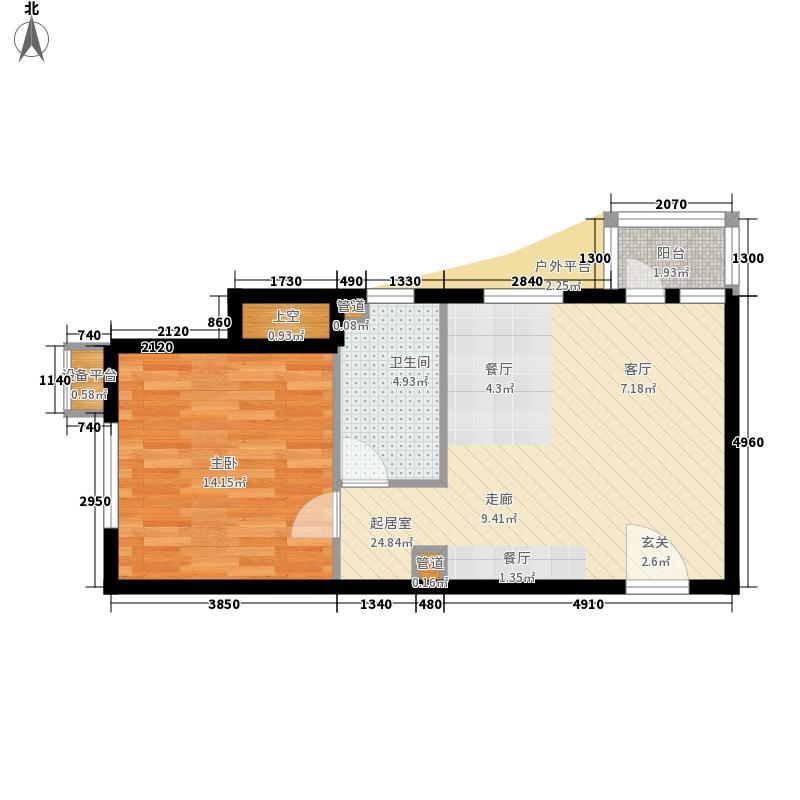 聆湖苑68.00㎡户型1室