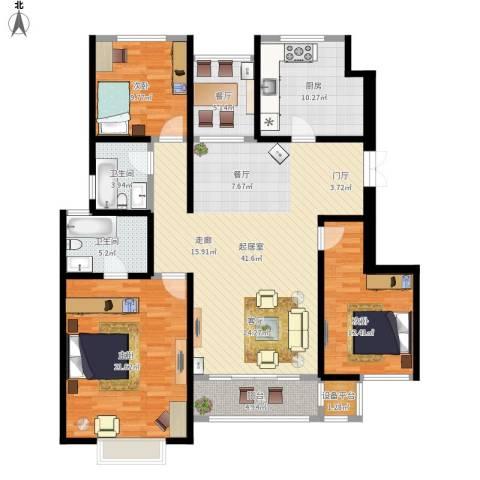吉宝季景兰庭3室1厅2卫1厨164.00㎡户型图