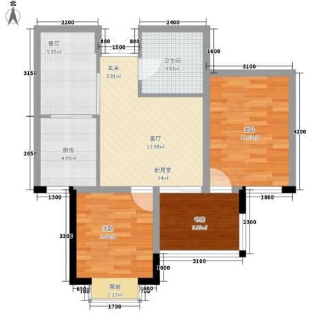 花香小镇3室1厅1卫1厨76.00㎡户型图