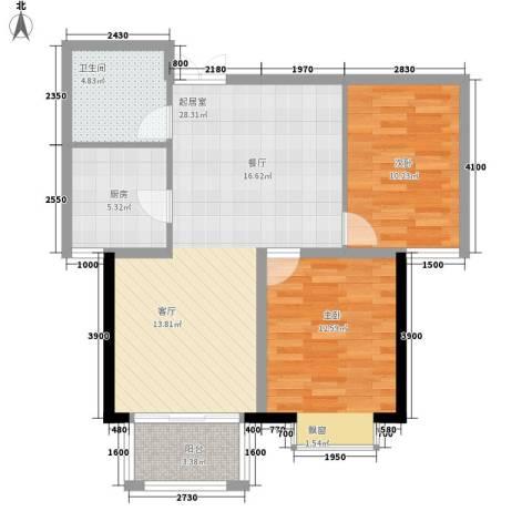 花香小镇2室0厅1卫1厨88.00㎡户型图