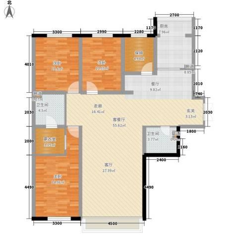 天鸿嘉园3室1厅2卫1厨161.00㎡户型图