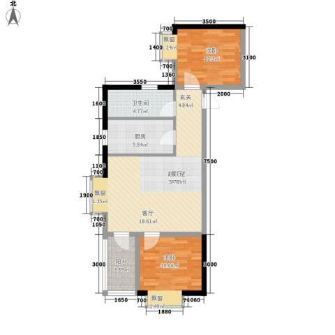花香小镇2室0厅1卫1厨85.00㎡户型图