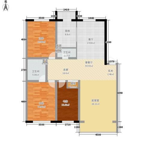 天鸿嘉园3室1厅2卫1厨144.00㎡户型图