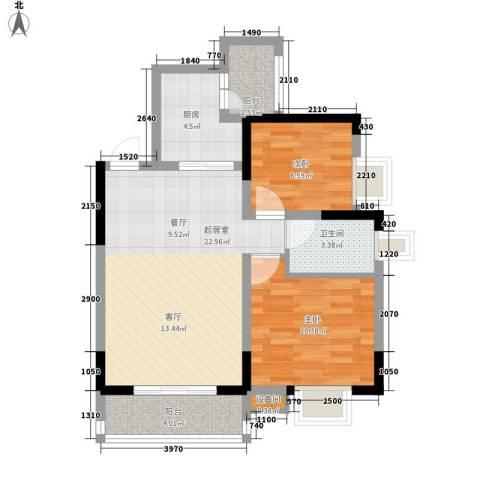 蓝色星空2室0厅1卫1厨66.00㎡户型图