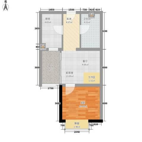 花香小镇1室0厅1卫1厨36.55㎡户型图