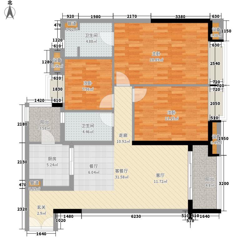 富力公馆142.37㎡B5-02号房户型3室2厅2卫1厨