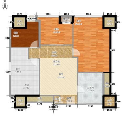 天津环球金融中心3室0厅1卫1厨138.00㎡户型图