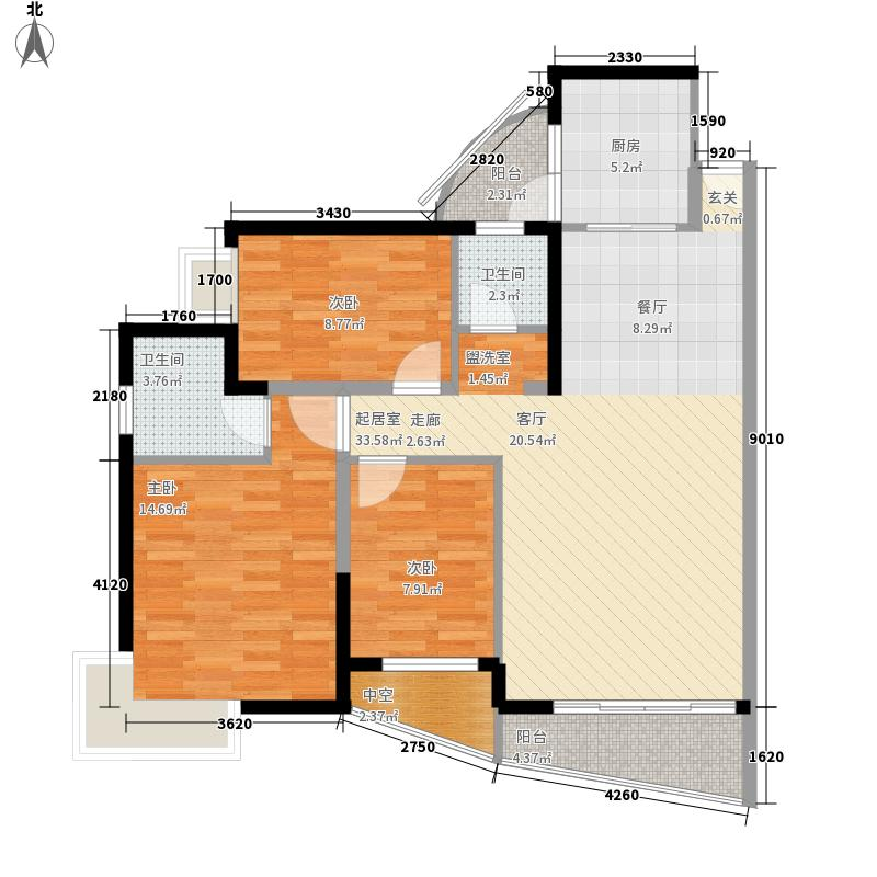 香山美树苑106.77㎡香山美树苑户型图9栋D户型3室2厅2卫户型3室2厅2卫
