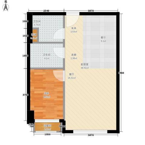 苏荷时代1室0厅2卫0厨65.00㎡户型图