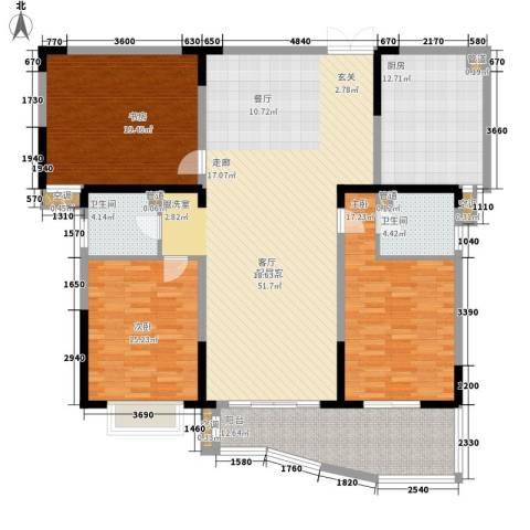 信旺华府骏苑3室0厅2卫1厨156.00㎡户型图