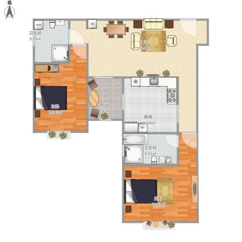 同济路1111弄2室1厅2卫1厨128.00㎡户型图