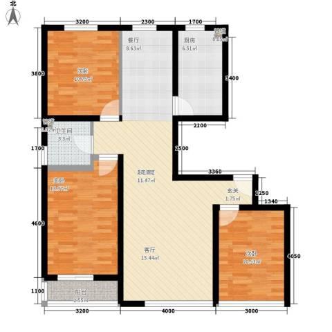 信旺华府骏苑3室0厅1卫1厨150.00㎡户型图