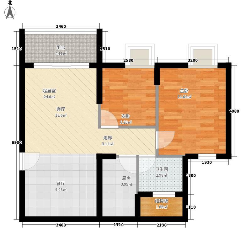正大十里海79.63㎡A3户型2室2厅