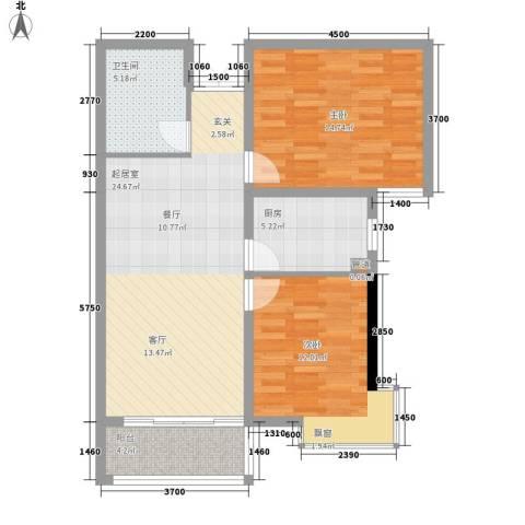 花香小镇2室0厅1卫1厨87.00㎡户型图