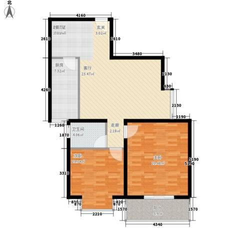 长丰园项目2室0厅1卫1厨96.00㎡户型图