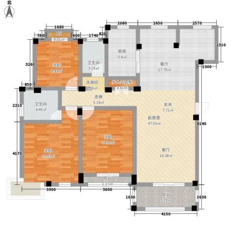 盐城恒隆花园3室0厅2卫1厨156.00㎡户型图