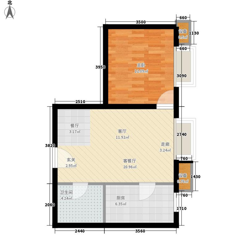 龙之梦畅园60.27㎡B1户型1室2厅