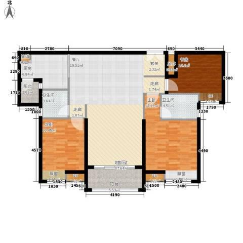 保利国际广场3室0厅2卫1厨122.00㎡户型图
