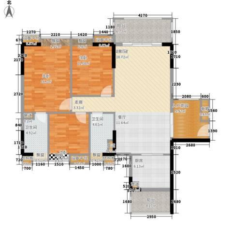 保利国际广场3室0厅2卫1厨120.00㎡户型图