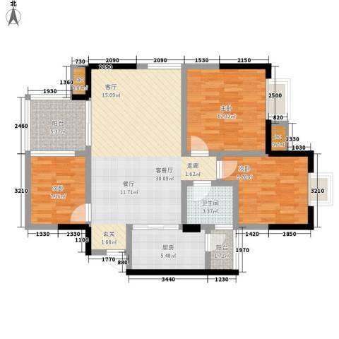 凯丽景湖三期3室1厅1卫1厨88.00㎡户型图