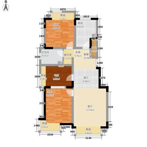融创上城3室1厅1卫1厨101.00㎡户型图